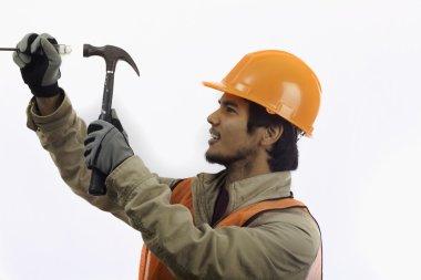 Asian hard hat worker