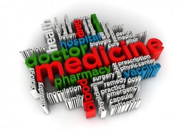 Medicine word cloud 3d render