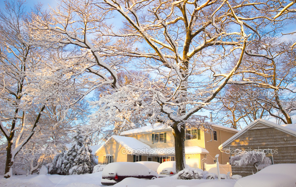 Yellow Home in Snow
