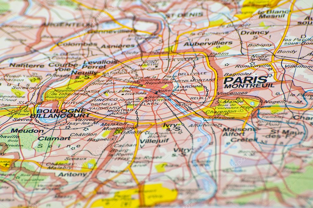 Cartina Di Parigi E Dintorni.Mappa Di Parigi Foto Stock Foto Immagini C Fer737ng 4093524 Depositphotos