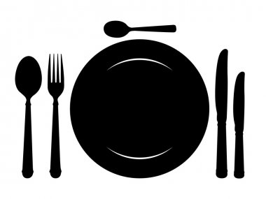 Design place setting with knives, plate, spoons and fork.
