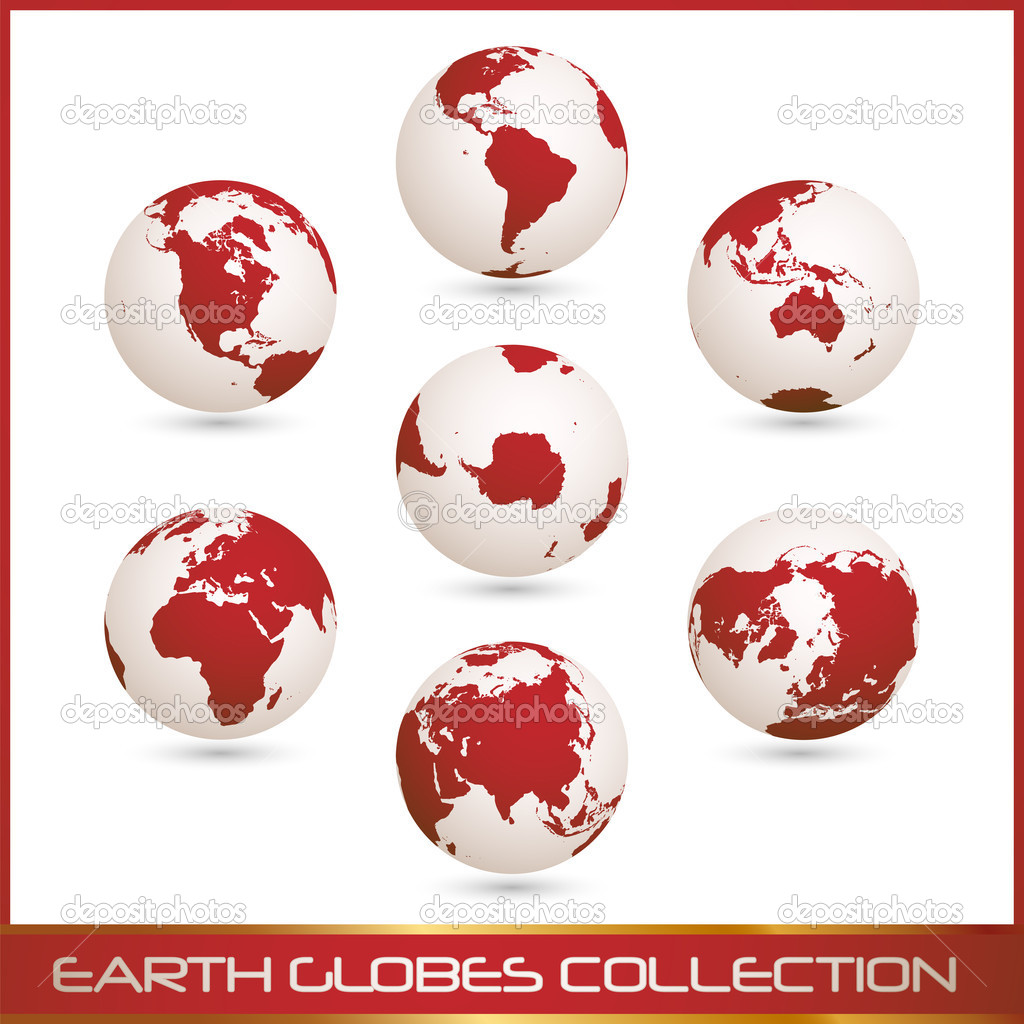 Collection of white- red earth globes isolated on white, vector illustration