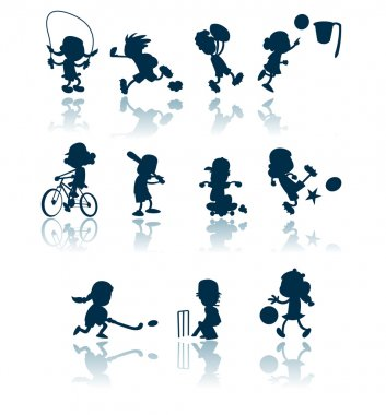 Kids sports silhouettes