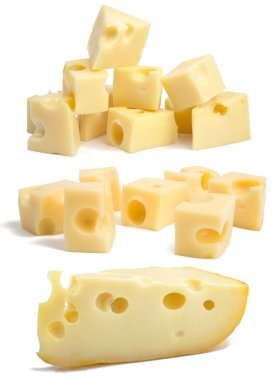 Set pieces of swiss cheese.