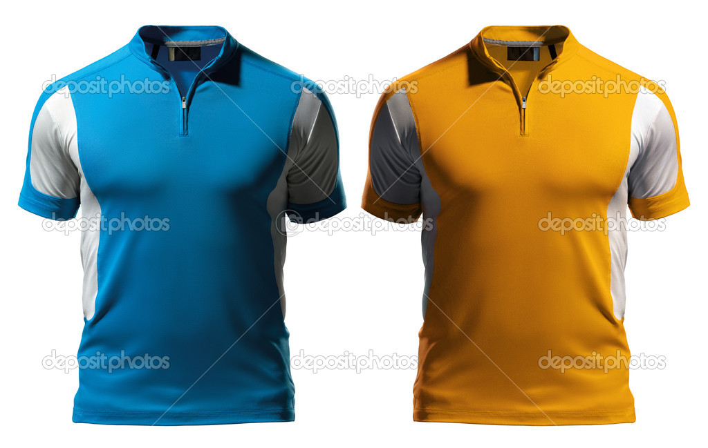 Blank polo t shirt design template front with zipper for Stock t shirt designs