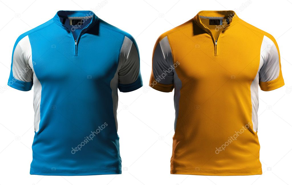 Blank polo t shirt design template front with zipper for T shirt design materials