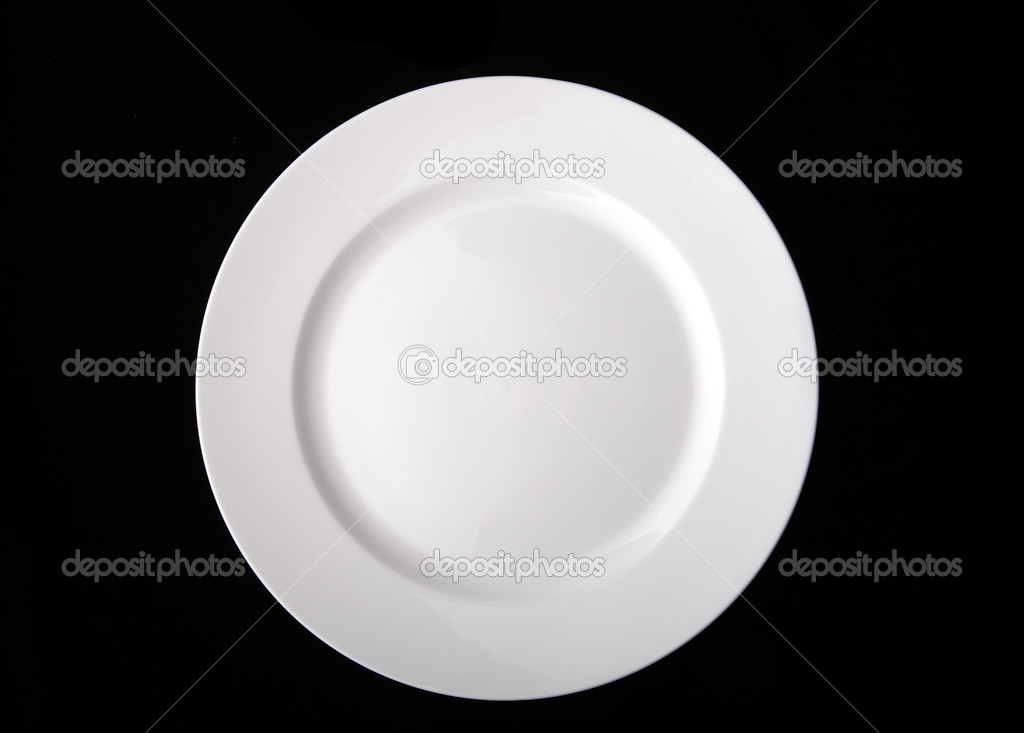 Blank White Dinner Plate Isolated On The Black Background With C Stock Photo Image By Scratch 4841796