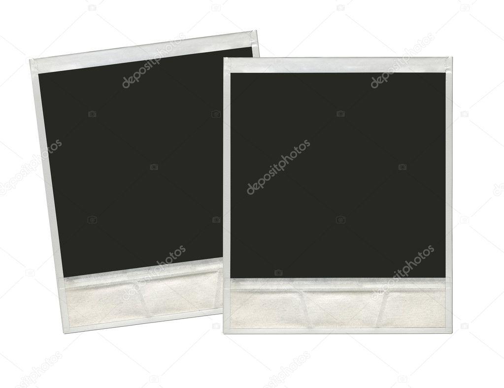 Two vintage instant polaroid photo frames in white background re