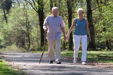 Senior couple strolling through the park