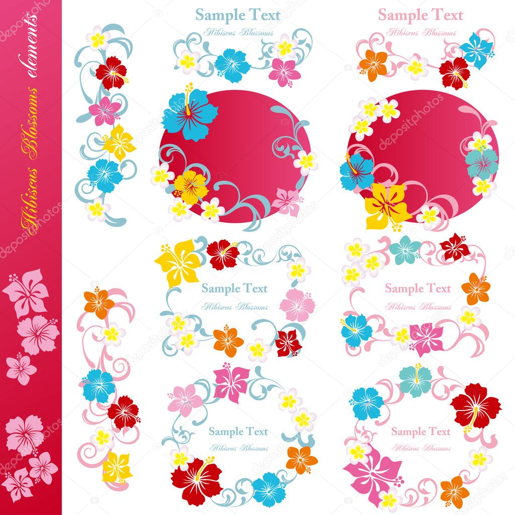 Hibiscus blossoms design elements set