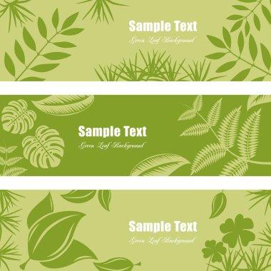 Green leaf banner set