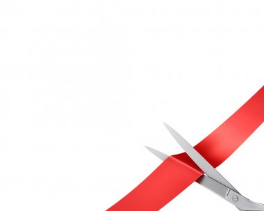 Scissors cut ribbon, closeup corner version