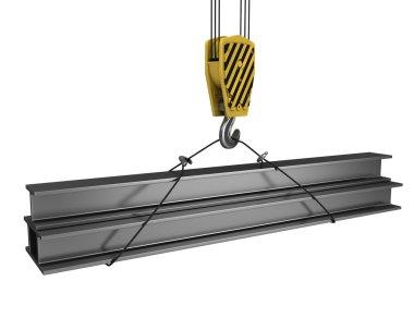 Crane hook lifts up few H girders
