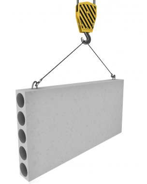 Crane hook lifts up concrete plate isolated