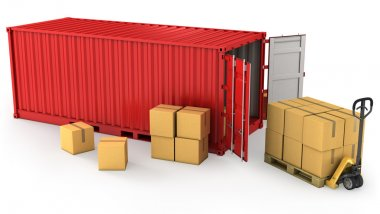 Red opened container and many of carton boxes on a pallet