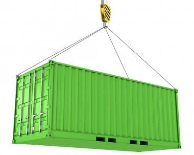 Green freight container hoisted