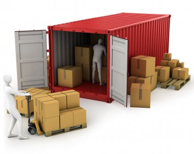 Two workers unload container