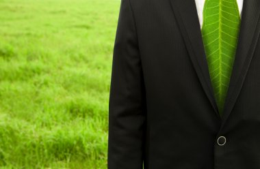 Businessman with green leaf tie