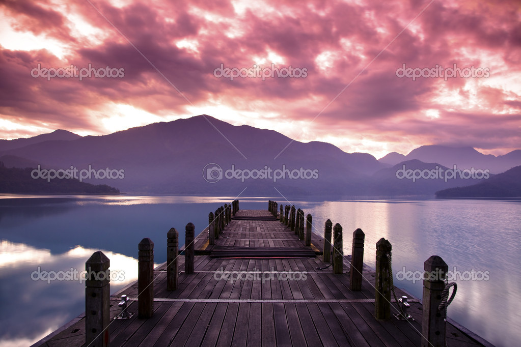 Beautiful morning at spring before sunrise and pier view stock vector