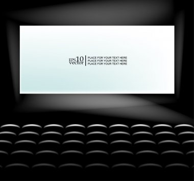 Blank cinema screen with lighting