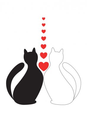 In Love cats sit with hearts stock vector