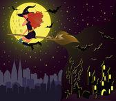 Halloween-Nachtkarte. Hexenmädchen fliegen über Stadt. Vektor