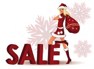 Santa-girl and word SALE in 3D image. vector