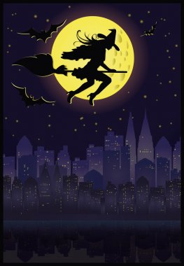 Witch flying on a broom in moonlight. Halloween night. vector
