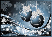 Winter background with Christmas balls, vector
