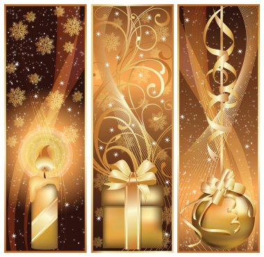 Set golden christmas banner. vector illustration