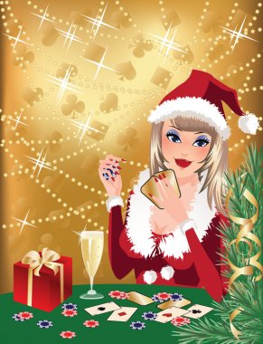 Santa girl plays poker. Christmas casino background. vector