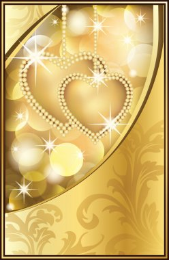 Beautiful Golden Background with Two Hearts, vector illustration stock vector