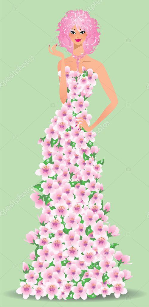 春の花の女の子ベクトル イラスト ストックベクター Carodi 4859086