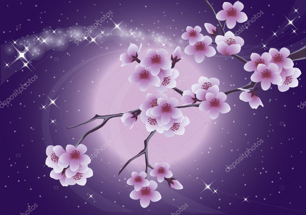 Sakura and moon, spring card. vector illustration