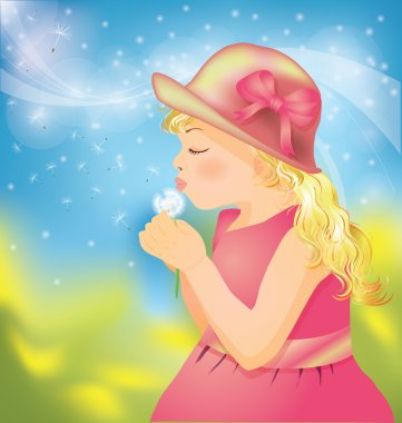 Little girl on to the meadow with dandelion, vector