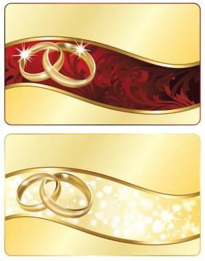 Two Wedding banner with golden rings. vector illustration