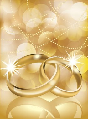 Golden wedding rings, vector illustration