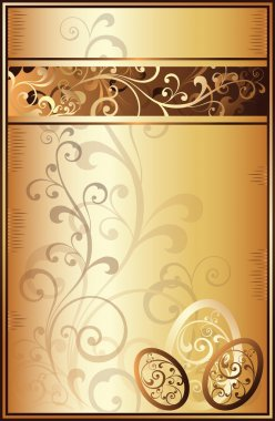 Easter golden greeting card, vector illustration