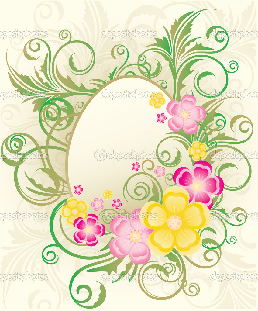easter frame with flowers and eggs vector illustration u2014 stock