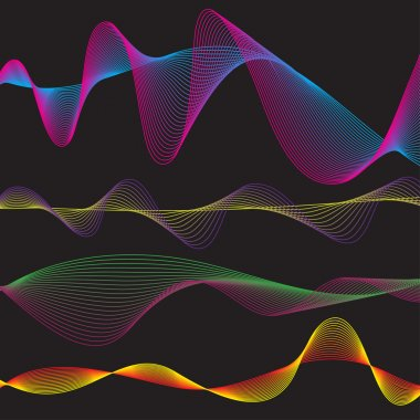 Vector - Illustration of a collection of waveform patterns in various colors stock vector