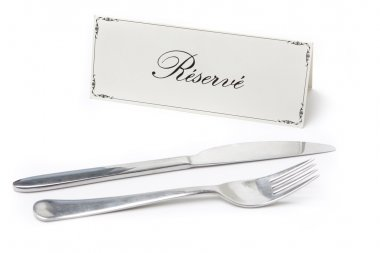 Reserved sign with fork and knife
