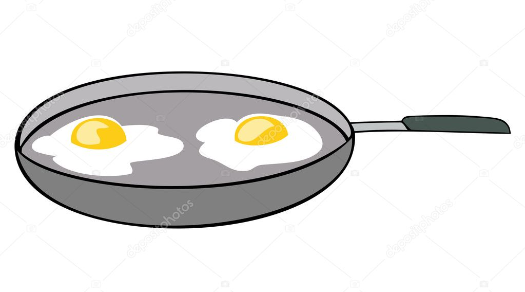 Frying pan with sunny side up eggs.