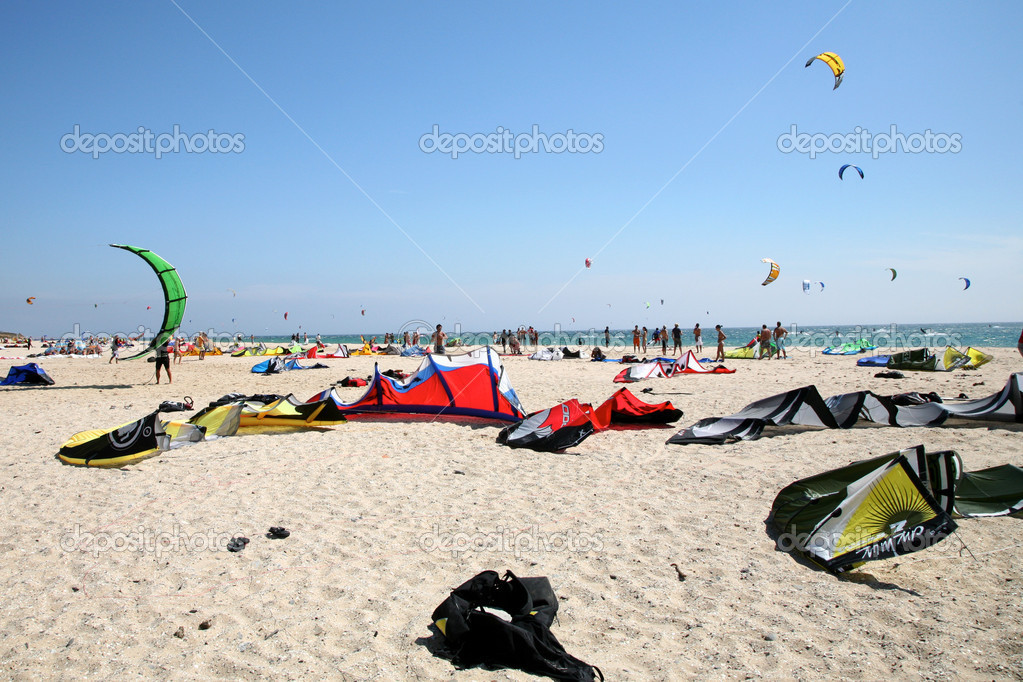 Kitesurf equipment on the beach