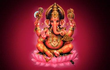 Illustration of Ganesh on red background - Indian God stock vector