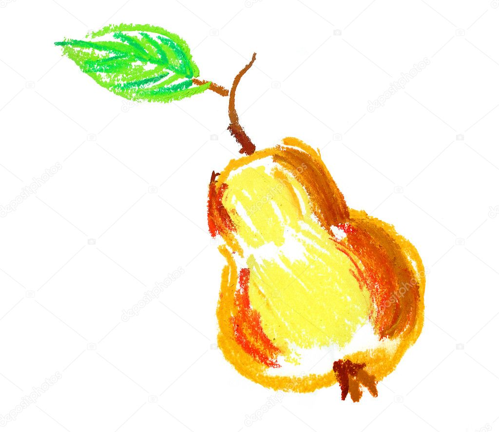 Apple with leaf drawing isolated