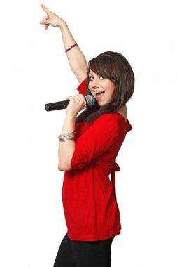Female karaoke singer