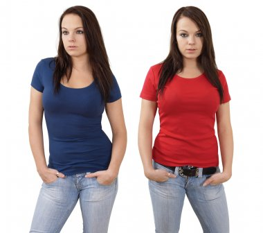 Female with blank red and blue shirts