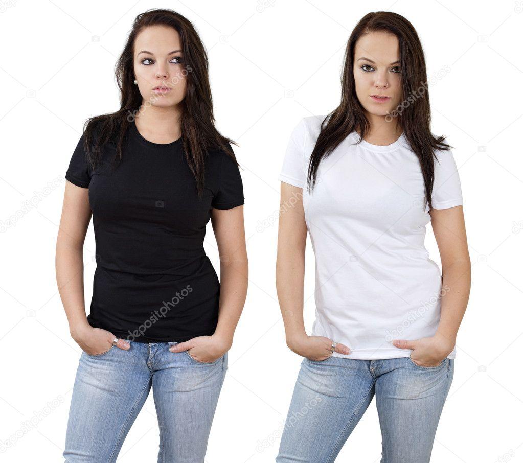 ffbe45dd6490 θηλυκό και κενό άσπρα και μαύρα πουκάμισα — Φωτογραφία Αρχείου ...