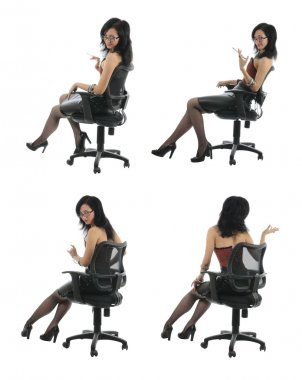 Beauty is sitting in chair. collection #1 | Isolated