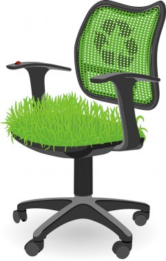 Green office chair with grass and ladybug used as a metaphor of the ecology protection and ECO working place for everyone. Used blends and meshes stock vector